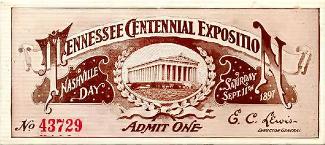 Ticket from the Nashville 1897 World's Fair