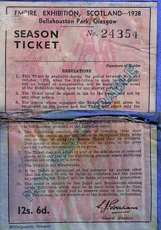 Glasgow 1938 Season Ticket